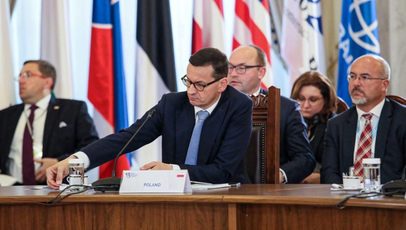 Premier Mateusz Morawiecki podczas szczytu Trójmorza w Bukareszcie (fot. PAP/Leszek Szymański)