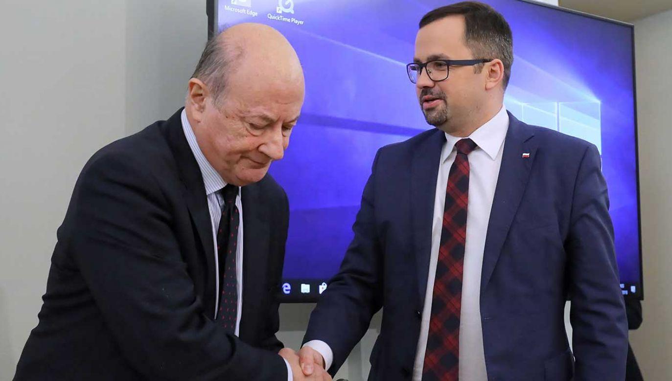 Jan Vincent Rostowski i Marcin Horała (fot. PAP/Paweł Supernak)