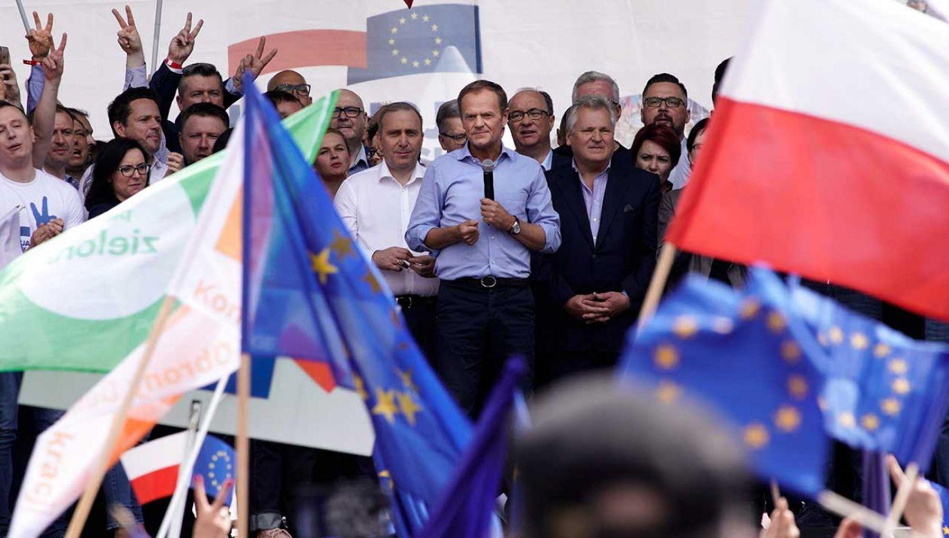 Przemówienie szefa RE podczas Marszu Koalicji Europejskiej (fot. Jaap Arriens/NurPhoto/Getty Images)