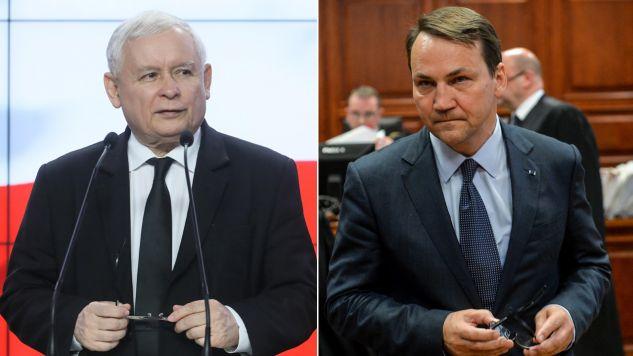 Jarosław Kaczyński, Radosław Sikorski (fot. arch. PAP/ PAweł Supernak/Marcin Obara)
