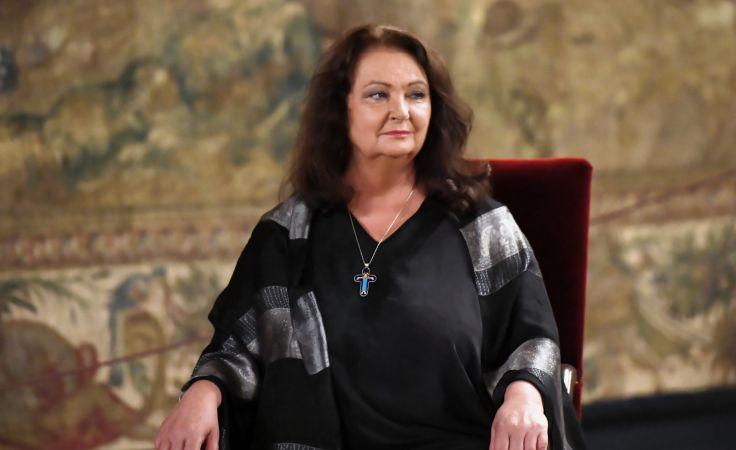 Anna Dymna podczas uroczystości wręczenia nagrody Polskiej Akademii Umiejętności . Fot. PAP/Jacek Bednarczyk