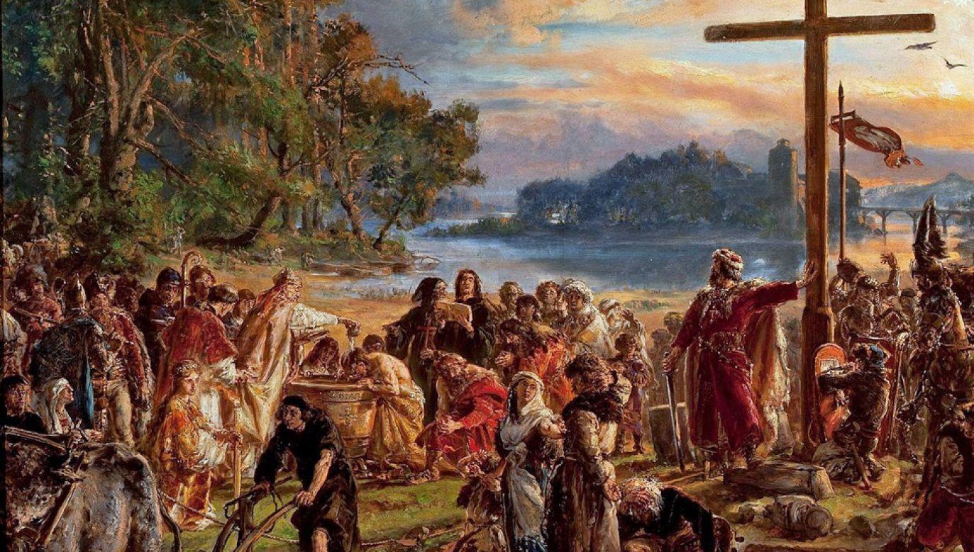 Przyjmuje się, że do chrztu Polski doszło w 966 roku (fot. Wiki/Jan Matejko)