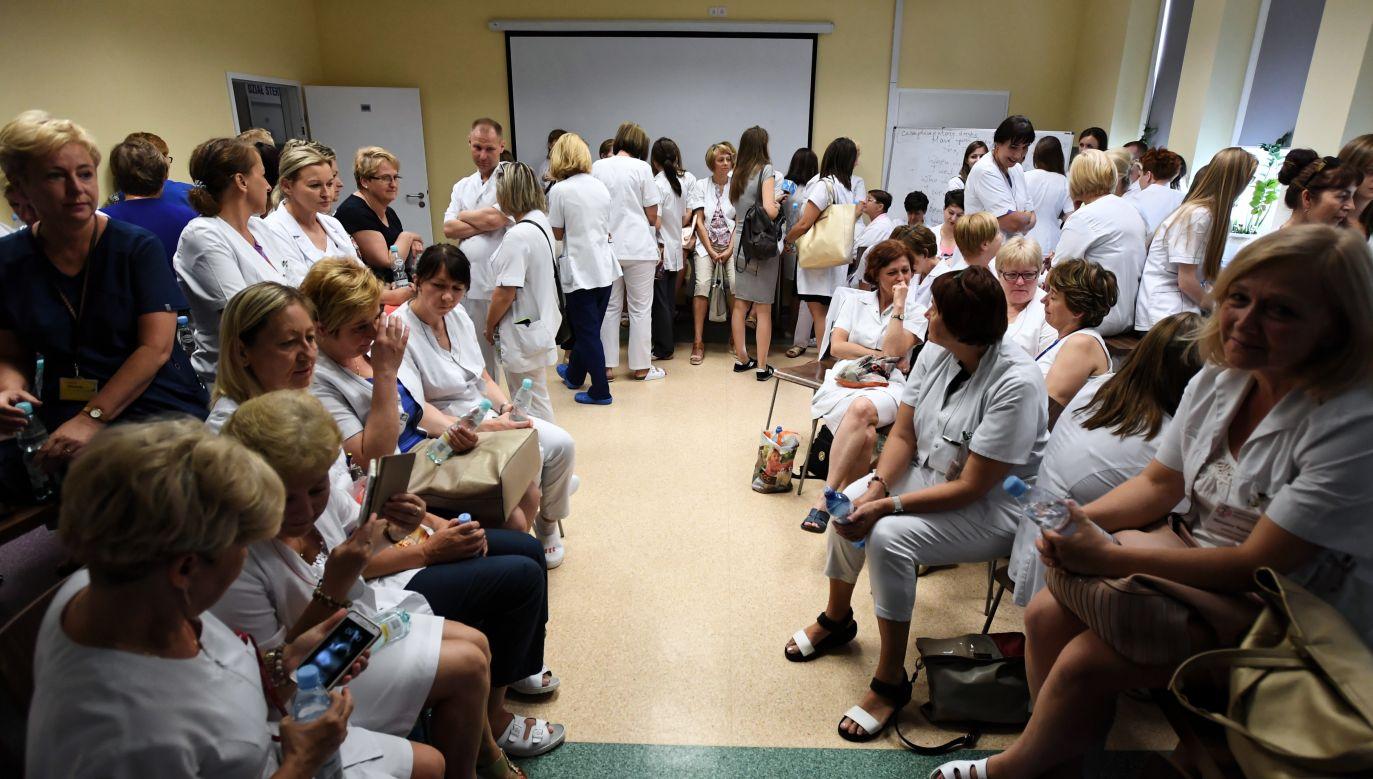 Pielęgniarki protestowały w szpitalu klinicznym nr 4 w Lublinie (fot. Wojciech Pacewicz/PAP)