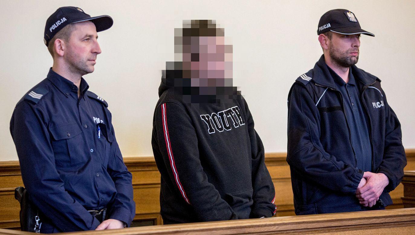 Oskarżony Bartłomiej R. w Sądzie Okręgowym w Gdańsku (fot.  PAP/Jan Dzban)