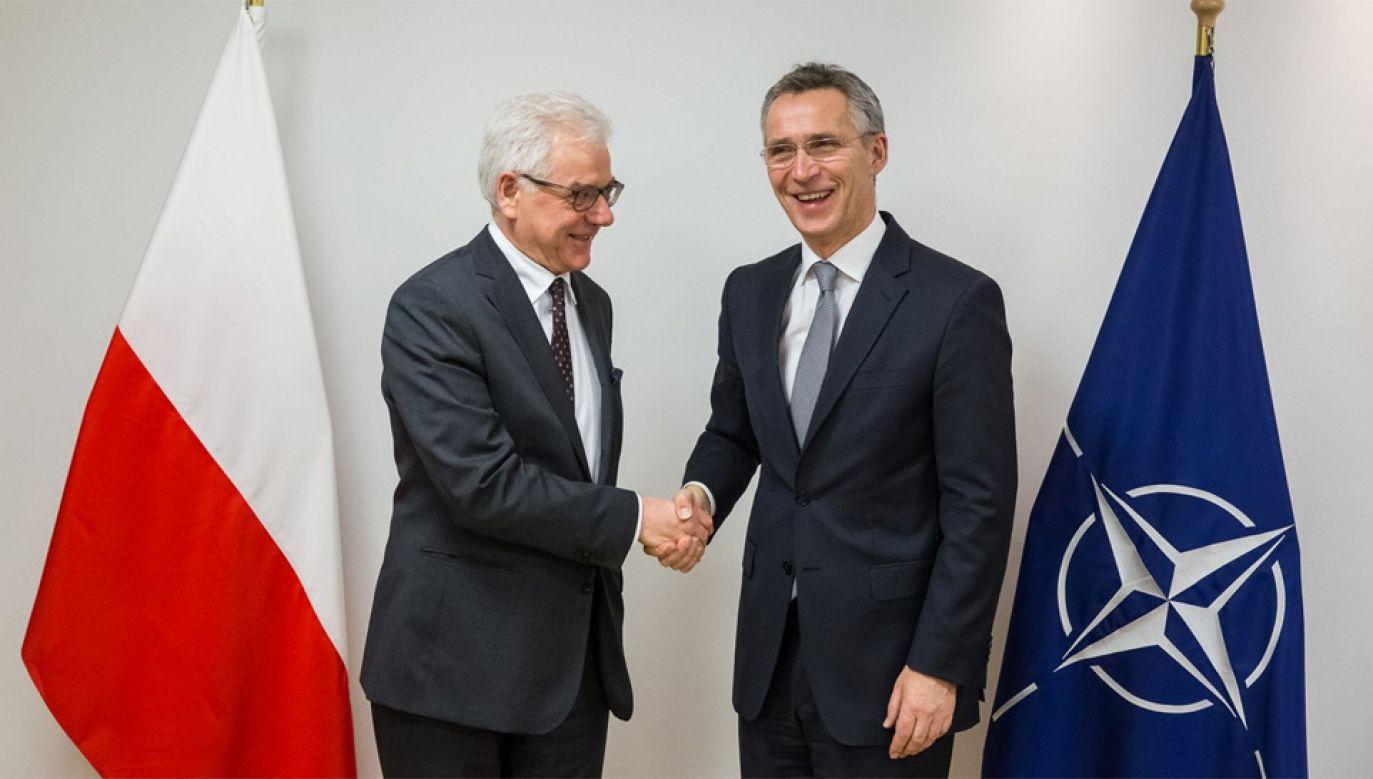 Jacek Czaputowicz i Jens Stoltenberg rozmawiali w Brukseli (fot. TT/Tymon Markowski)