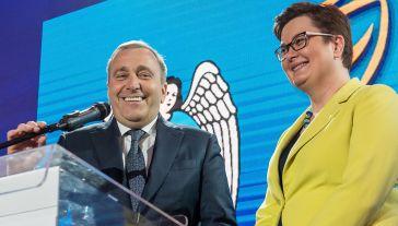 Szefowa Nowoczesnej Katarzyna Lubnauer oraz przewodniczący Platformy Obywatelskiej Grzegorz Schetyna (fot. PAP/Tytus Żmijewski )