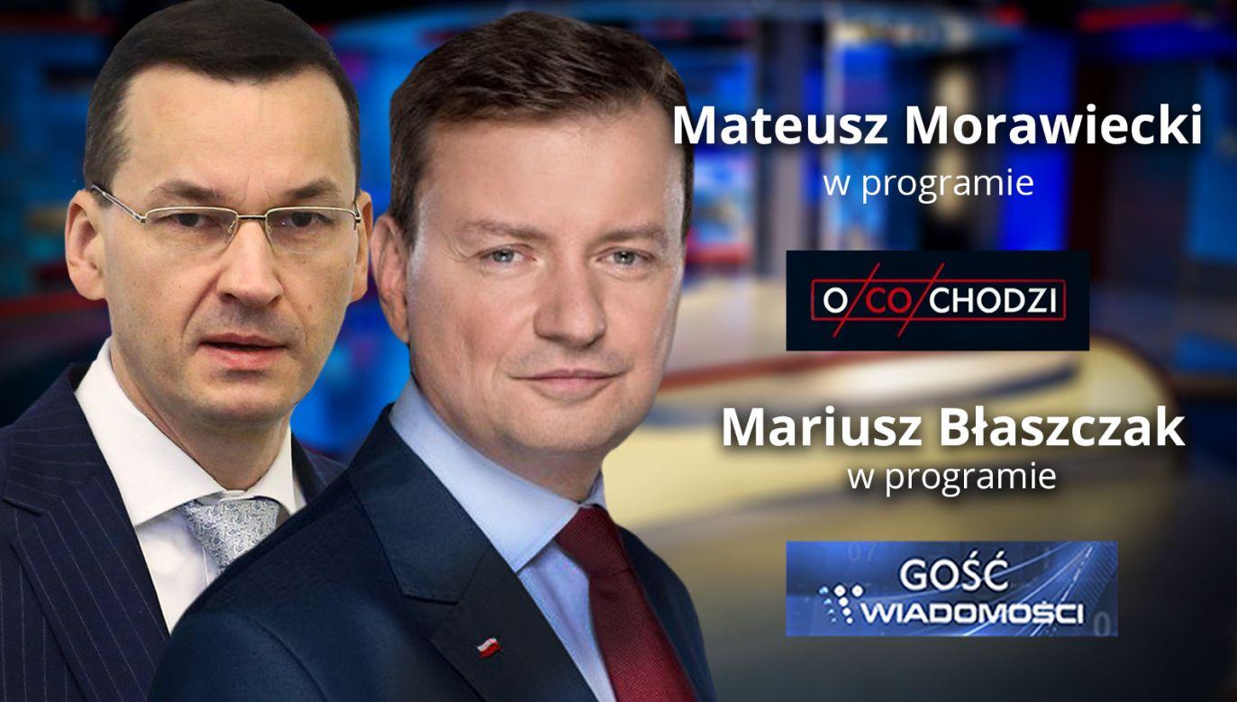 Gośćmi wieczornego pasma publicystycznego będą ministrowie: Mateusz Morawiecki i Mariusz Błaszczak (fot. TVP Info)
