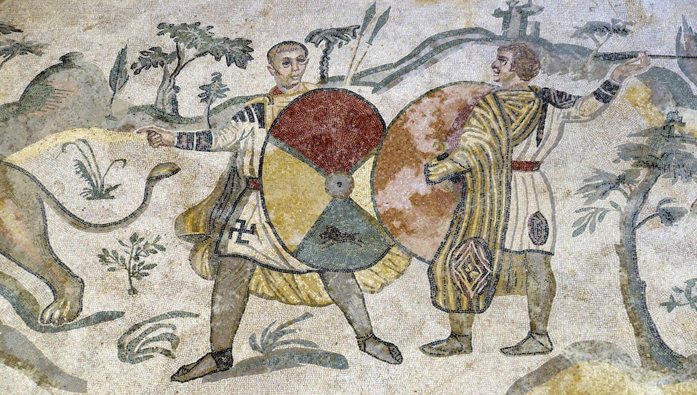 Starożytna mozaika podłogowa w Villa Romana del Casale na Piazza Armerina, Sycylia. Fot. Michael Nitzschke/BROKER/REX/Shutterstock