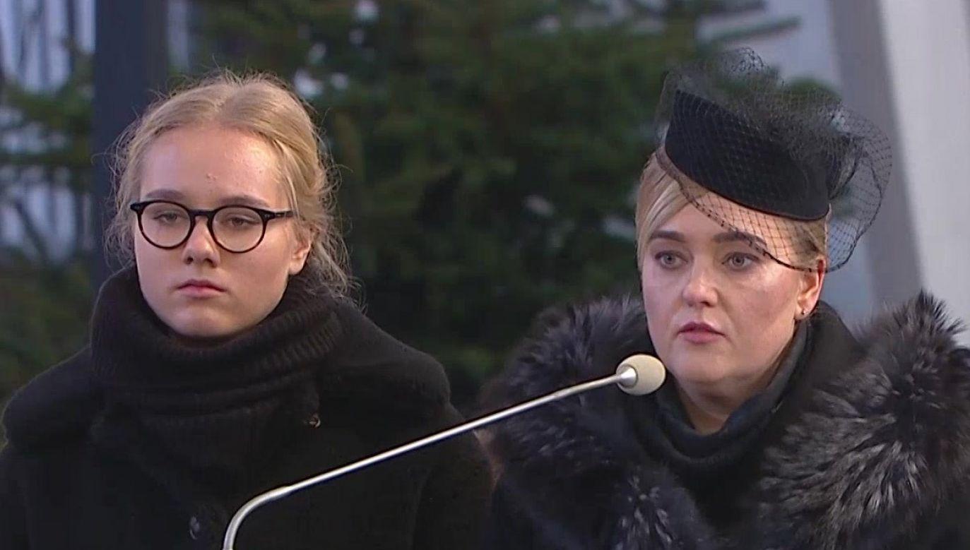 Magdalena Adamowicz wraz z córką Antoniną (fot. TVP Info)