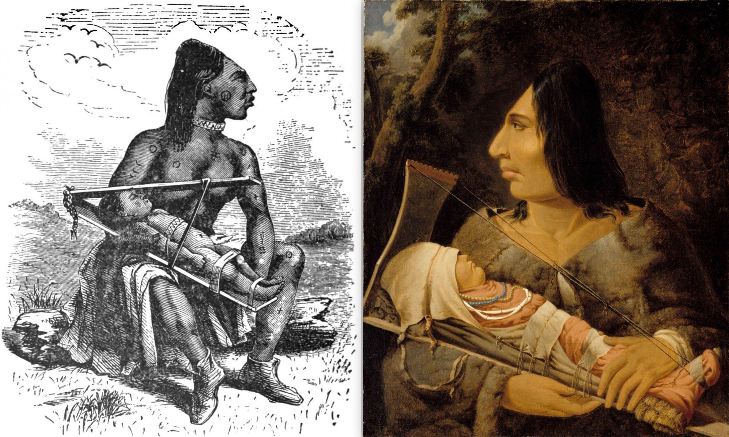 """Od lewej: ilustracja z książki """"Dwadzieścia lat przed masztem"""" Charlesa Erskine'a. Obraz Paula Kane'a  (1810–1871) """"Płaskogłowa kobieta z dzieckiem"""", ok. 1848 roku – Montreal Museum of Fine Arts . Fot. Wikimedia"""