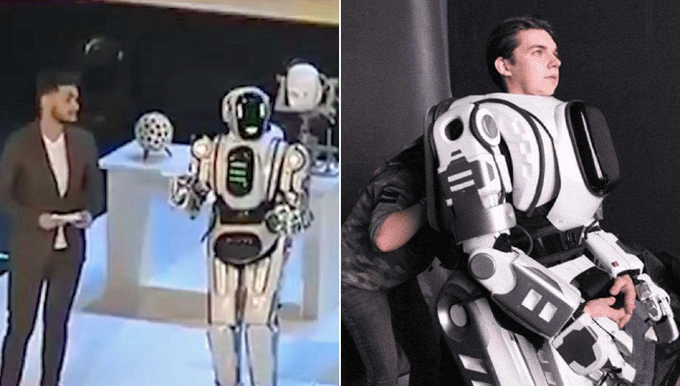 """""""Robota"""" zaprezentowano podczas forum technologicznego Projektoria (fot. YT/GuardianNews/MBKch)"""