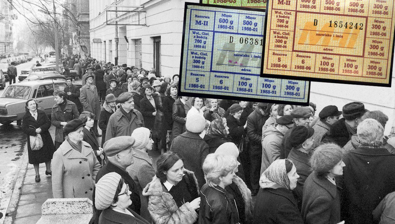 Warszawa 26.03.1981. Klienci tłoczą się w kolejce do sklepu mięsnego przy ul. Foksal, żeby zarejestrować wprowadzone 28 lutego kartki na mięso (fot. arch. PAP/Cezary Langda/Andrzej Rybczyński)