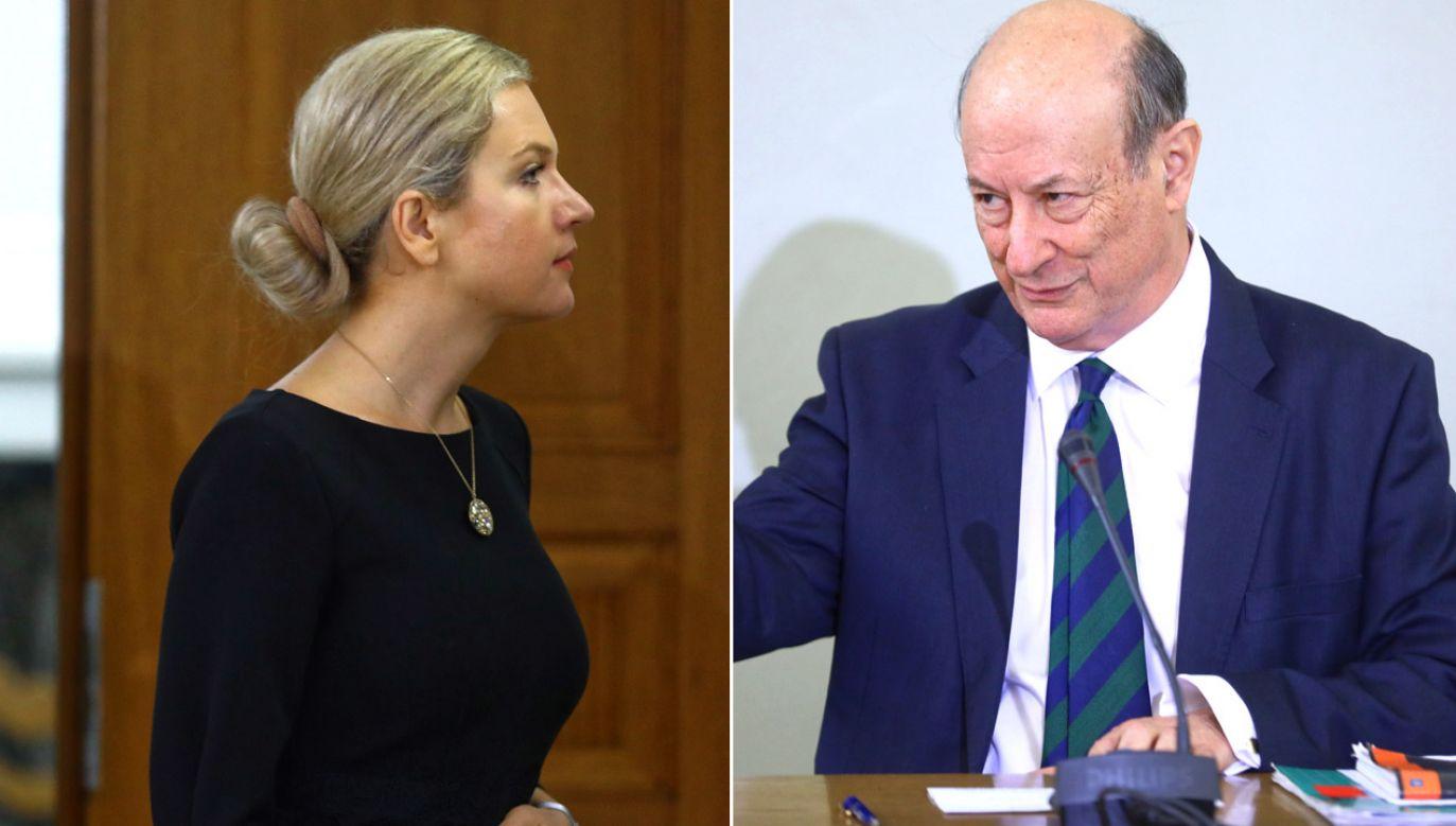 Przewodnicząca komisji Małgorzata Wassermann i były minister finansów w rządzie PO-PSL Jan Vincent-Rostowski (fot. PAP/Rafał Guz(2)