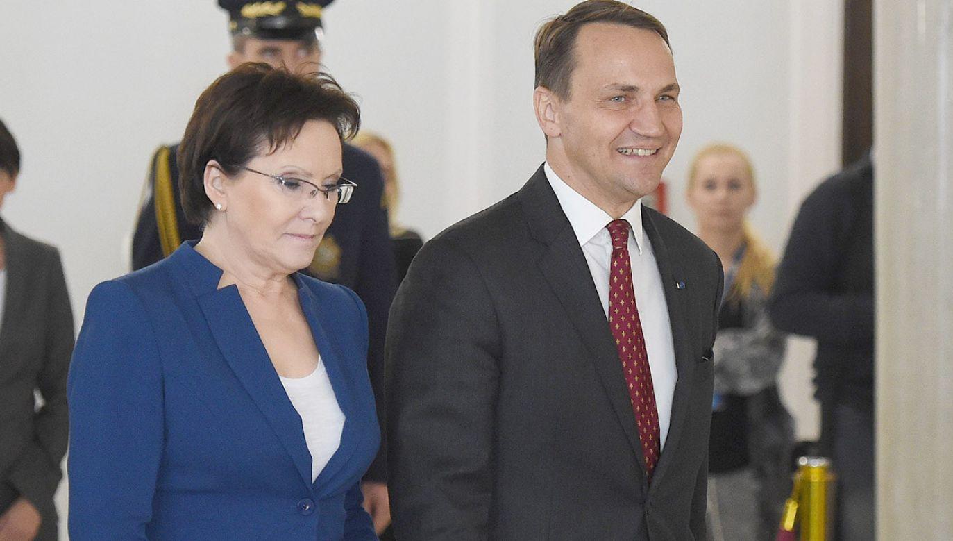 Ewa Kopacz i Radosław Sikorski (fot. arch.PAP/Radek Pietruszka)