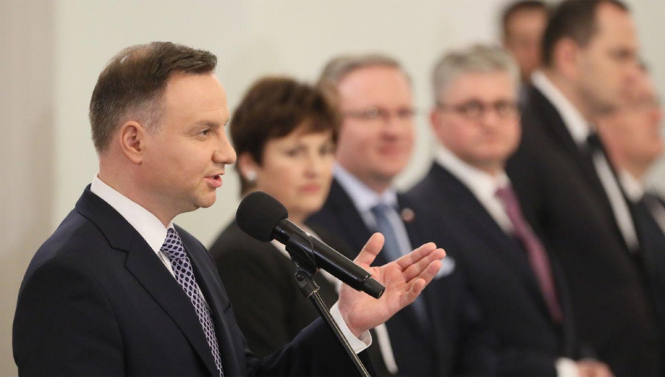 Prezydent Andrzej Duda podczas uroczystości powołania rządu Mateusza Morawieckiego (fot. PAP/Paweł Supernak)