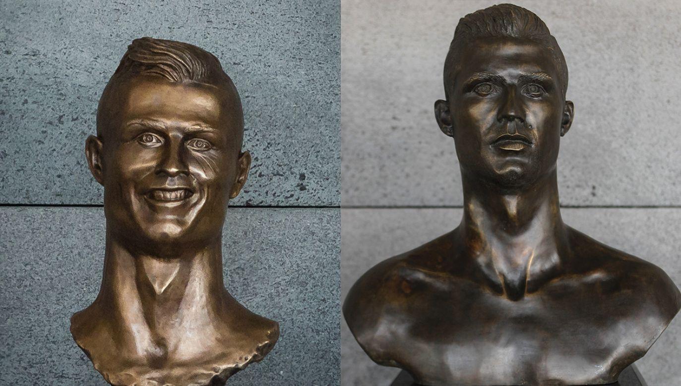 Stare (L) i nowe (R) popiersie Cristiano Ronaldo na lotnisku na portugalskiej Maderze (fot. PAP/EPA/HOMEM DE GOUVEIA)