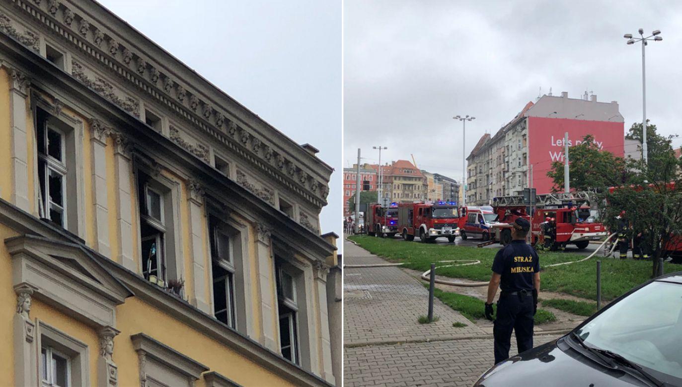 Strażacy ewakuowali z budynku 18 osób (fot. tt/Fakty TVP3 Wrocław)