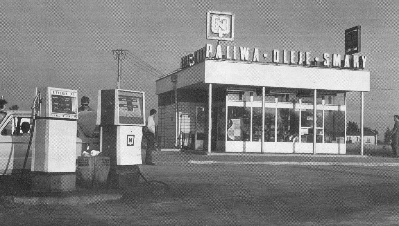 CPN petrol station north of Warsaw in the 1970s. Photo: Wikimedia Commons