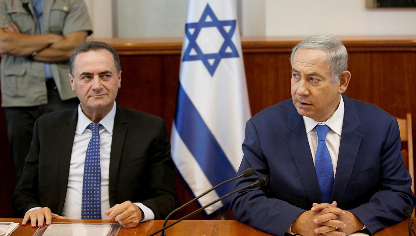 Israel Katz i Premier Izraela Benjaminem Netanjahu (fot. REUTERS/Ronen Zvulun)