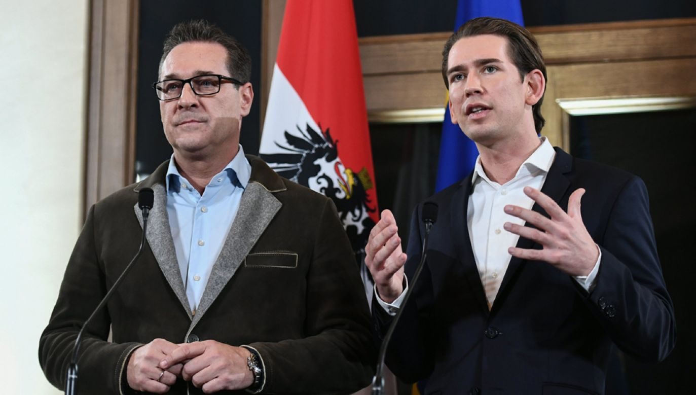 Sebastian Kurz (P) i  Heinz-Christian Strache (L) (fot. PAP/EPA/CHRISTIAN BRUNA )