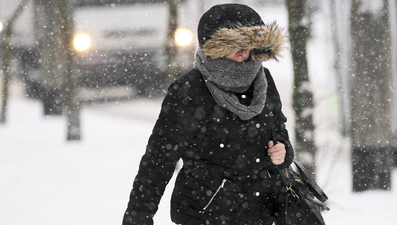 Olsztyn. Na Warmii i Mazurach, 8 bm. występują intensywne opady śniegu oraz marznącej mżawki, powodujących gołoledź. Warunki drogowe są bardzo trudne. W niektórych gminach ograniczono kursy autobusów komunikacji publicznej (fot. PAP/Tomasz Waszczuk)