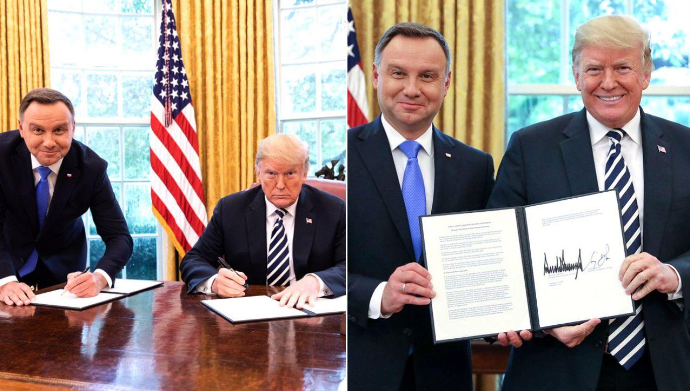 Jak wyjaśnił szef gabinetu prezydenta, zdjęcie nie zostało zrobione podczas oficjalnej ceremonii (fot. tt/@realDonaldTrump/tt/Jakub Szymczuk/KPRP)