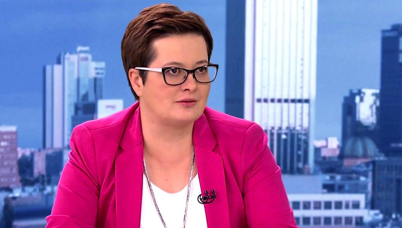 Szefowa Nowoczesnej w TVP 1(fot. TVP Info)