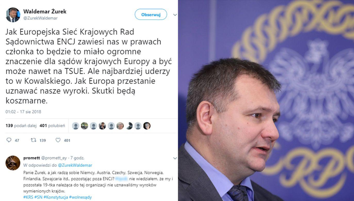 Waldemar Żurek pełnił funkcję rzecznika KRS (fot. arch. PAP/Rafał Guz/TT/Waldemar Żurek)