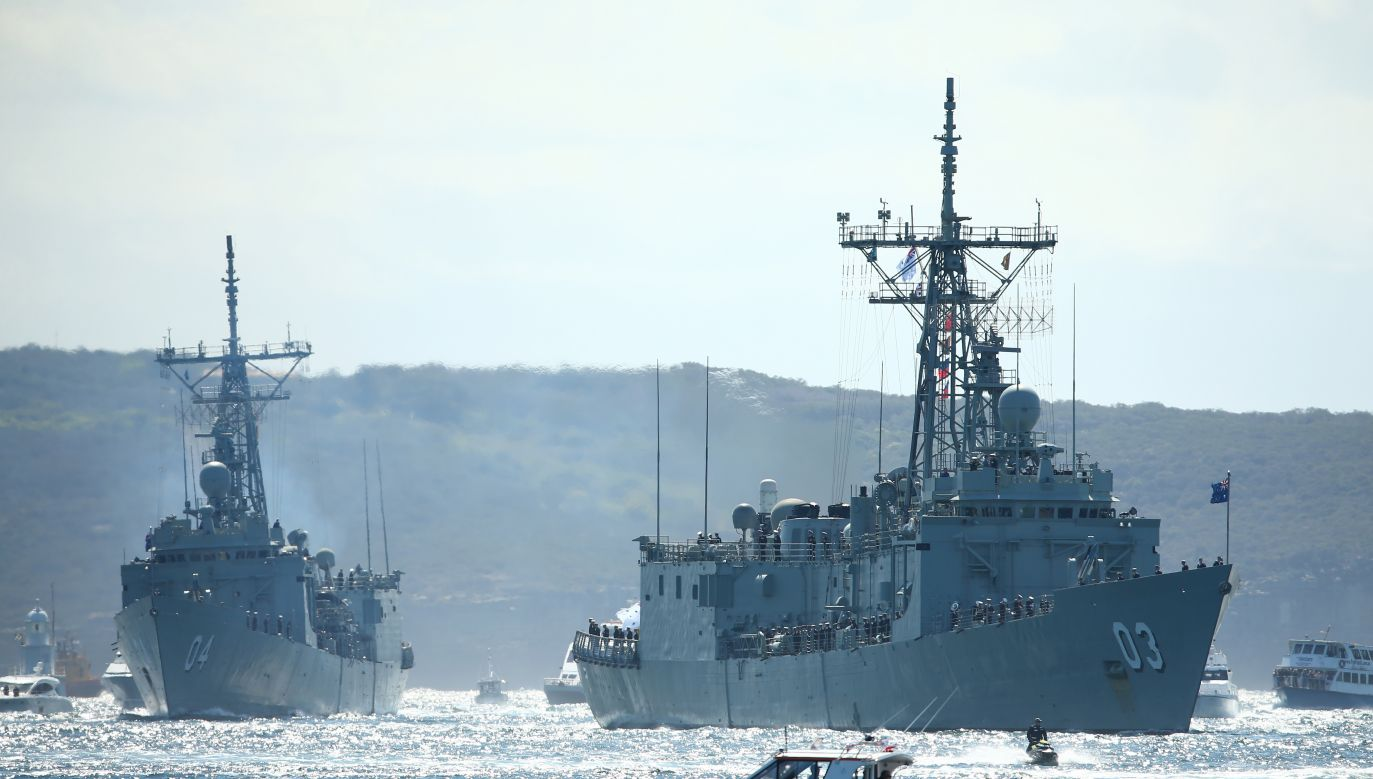 Two Adelaide-class frigates entering the Sydney Harbor. Photo: Cameron Spencer/Getty Images