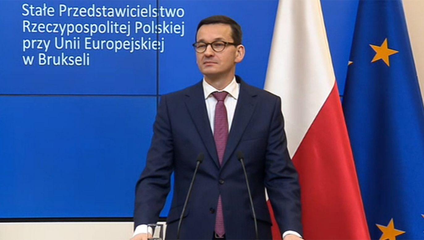 Premier Mateusz Morawiecki spotkał się z dziennikarzami w Brukseli (fot. TVP Info)