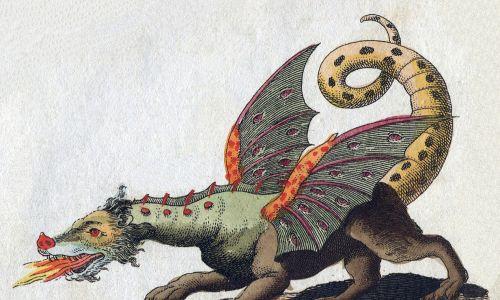 Ilustracja uskrzydlonego, oddychającego ogniem smoka Friedricha Justina Bertucha z 1806 roku. Fot. Wikimedia Commons/ Friedrich-Johann-Justin-Bertuch [Public domain]