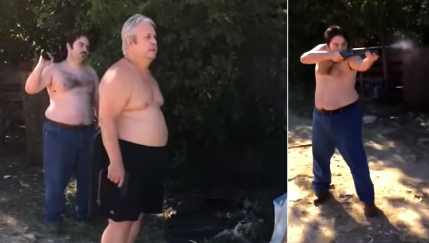 Obaj mężczyźni wyszli dyskutować z sąsiadem uzbrojeni w broń palną. Wystrzelili kilkukrotnie (fot. youtube)