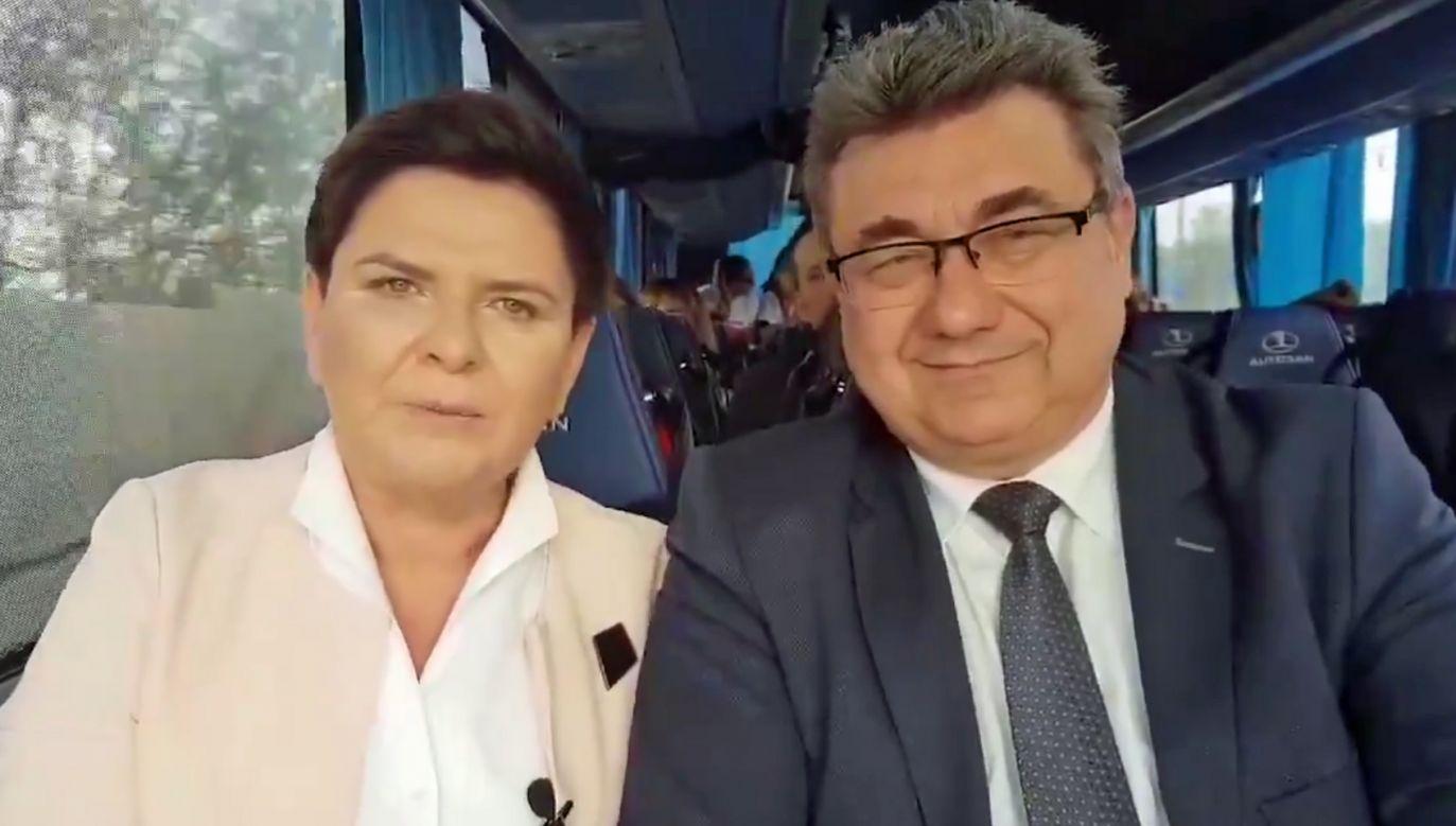 Wicepremier Beata Szydło zamieściła na Twitterze nagranie z trasy (fot. Twitter)
