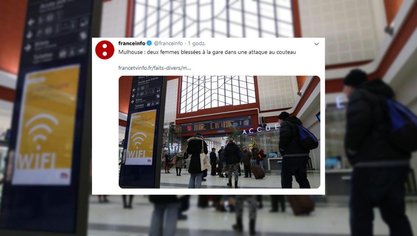 Do ataku doszło na dworcu kolejowym w Mulhouse (fot. twitter.com/franceinfo)