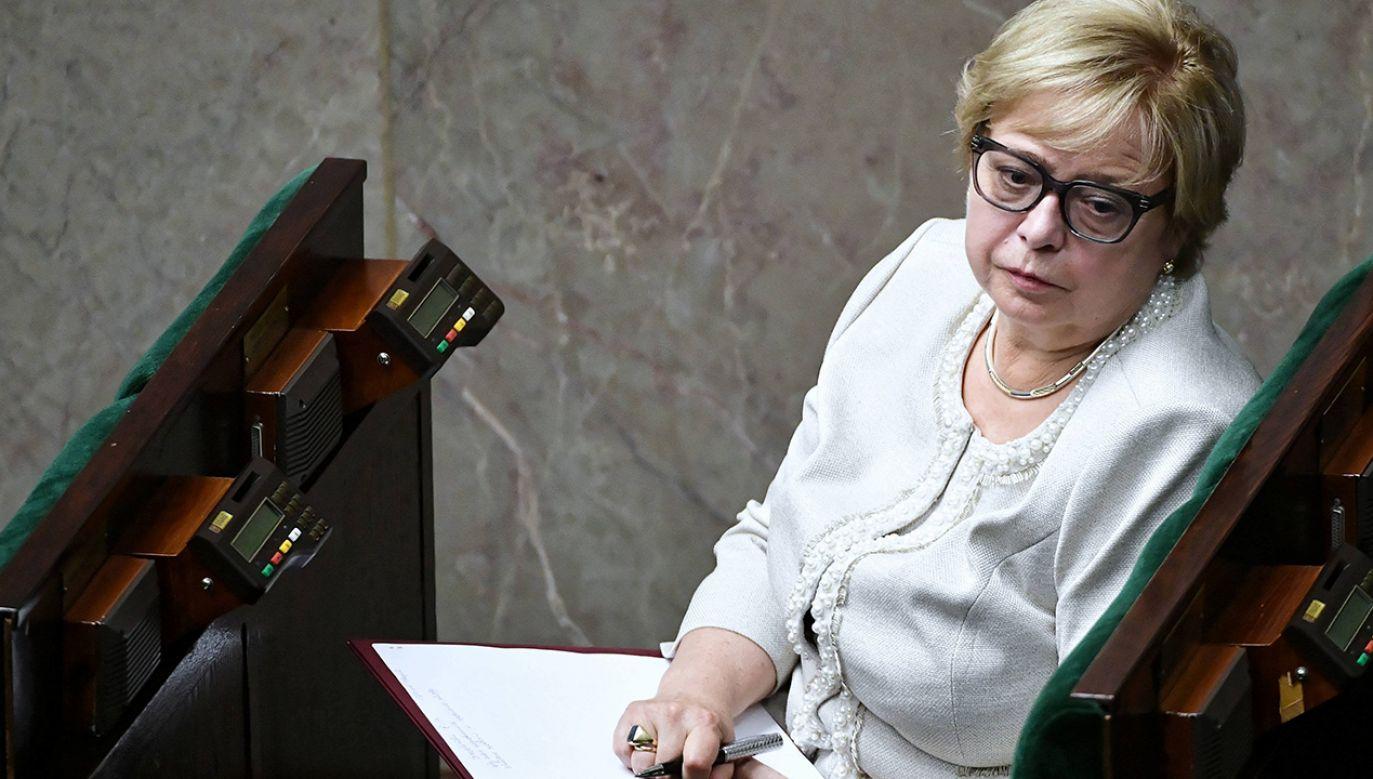 """""""W tej chwili mamy pełniącego obowiązki prezesa z mojego umocowania"""" – powiedziała sędzia Małgorzata Gersdorf (fot. arch. PAP/Marcin Obara)"""