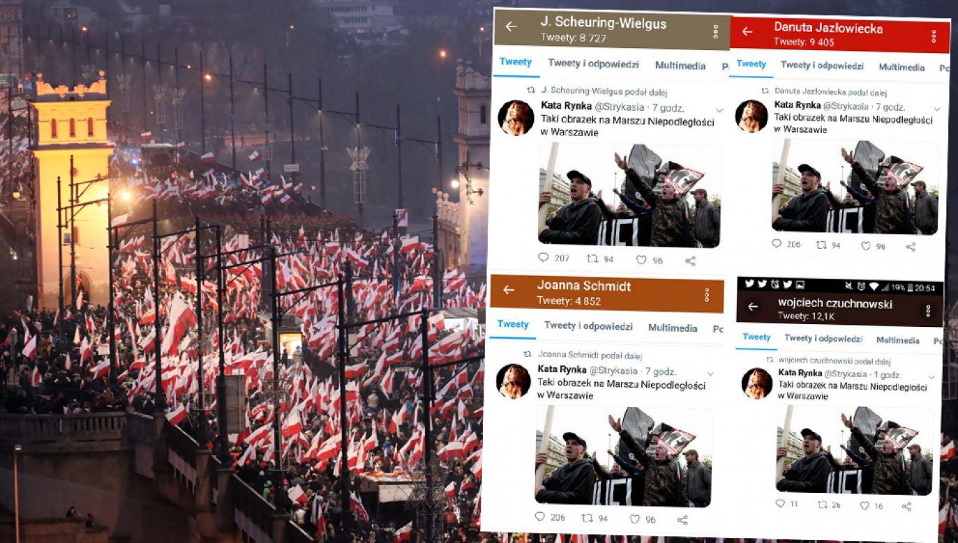 """Posłanki opozycji i dziennikarz """"GW"""" powielili zmanipulowaną informację na serwisie społecznościowym (fot. PAP/Paweł Supernak / @Immanuela_Kant/Twitter)"""