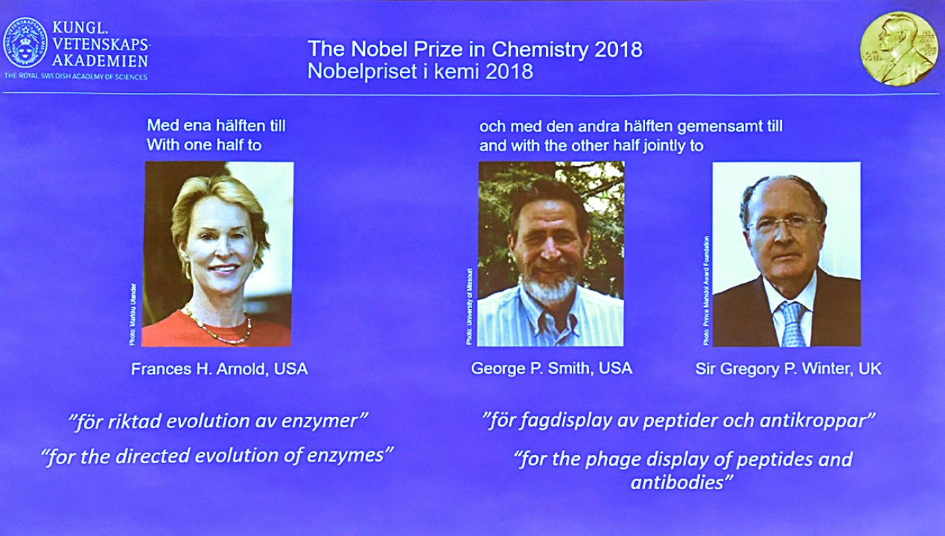 Laureaci Nagrody Nobla w dziedzinie chemii: Frances H. Arnold (L), George P. Smith (C) i Gregory P. Winter (P) (fot. PAP/EPA/Jonas Ekstromer)
