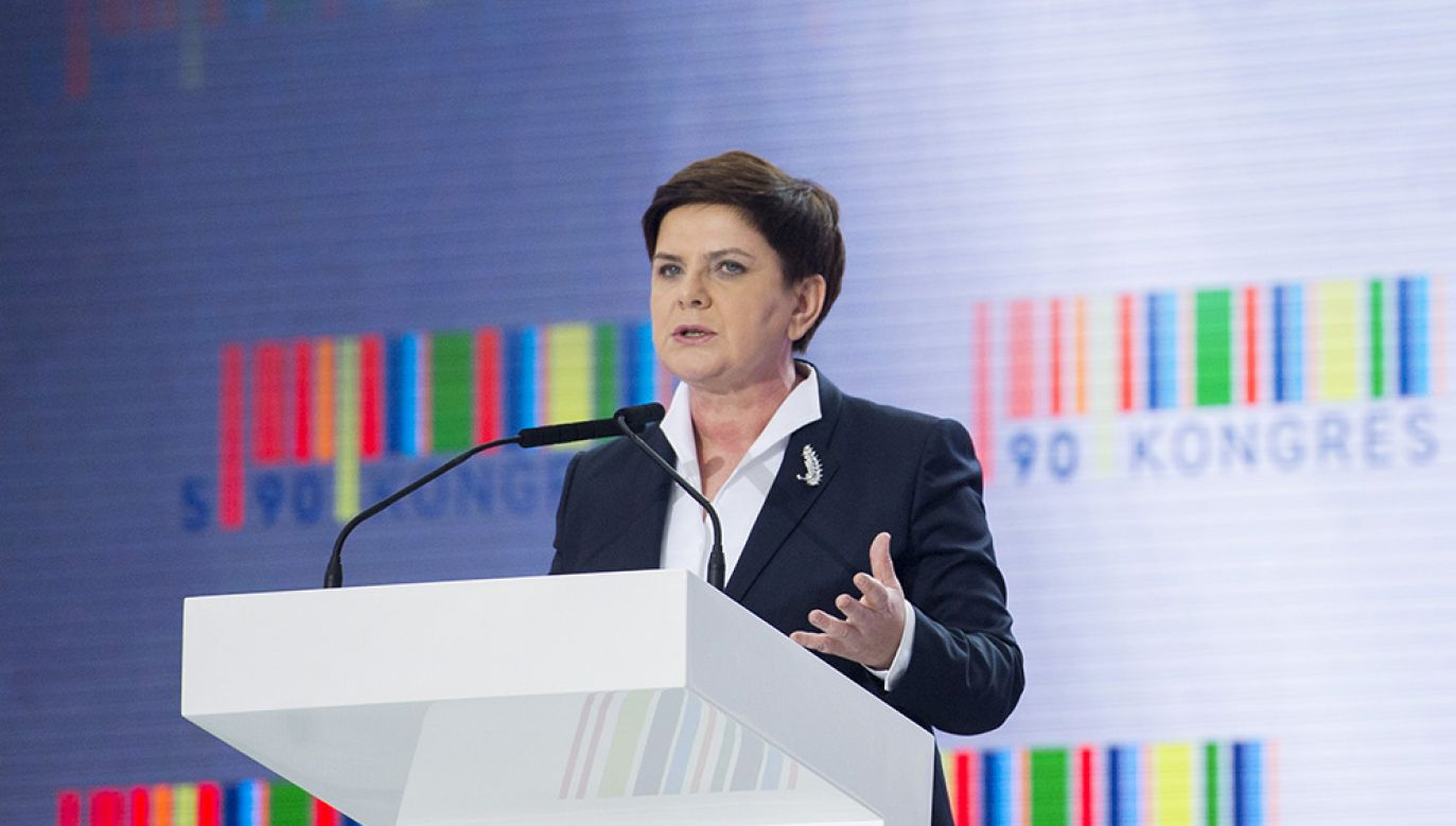Then-Prime Minister Beata Szydło during the first edition of Kongres 590 in 2016. Photo: flickr/Kancelaria Premiera