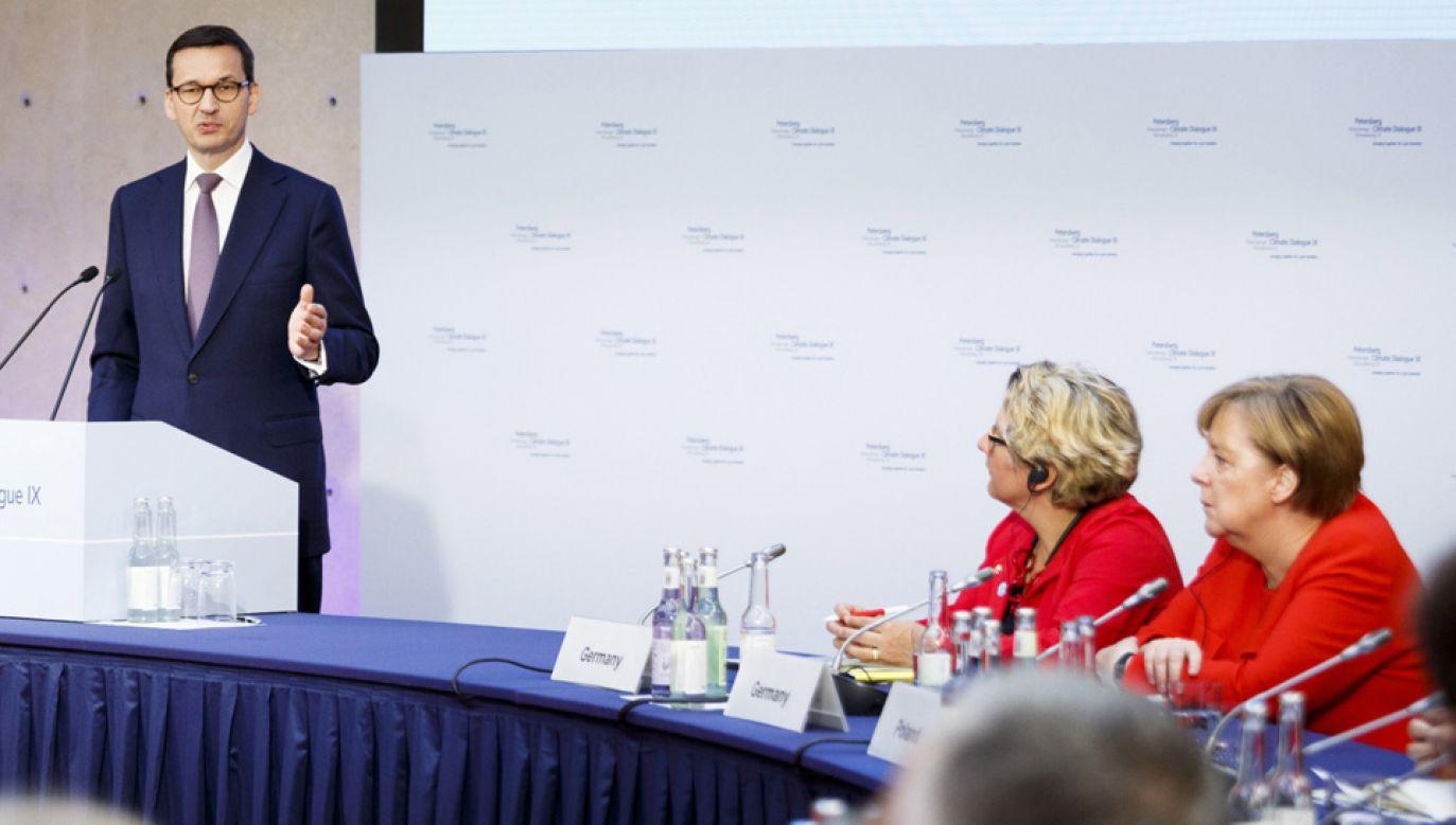 Premier Mateusz Morawiecki podczas sesji politycznej IX Petersberskiego Dialogu Klimatycznego (fot. PAP/ EPA/Carsten Koall)