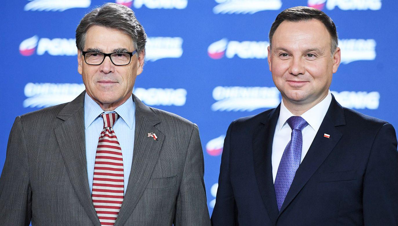 Rick Perry i prezydent Andrzej Duda (fot. PAP/Radek Pietruszka)