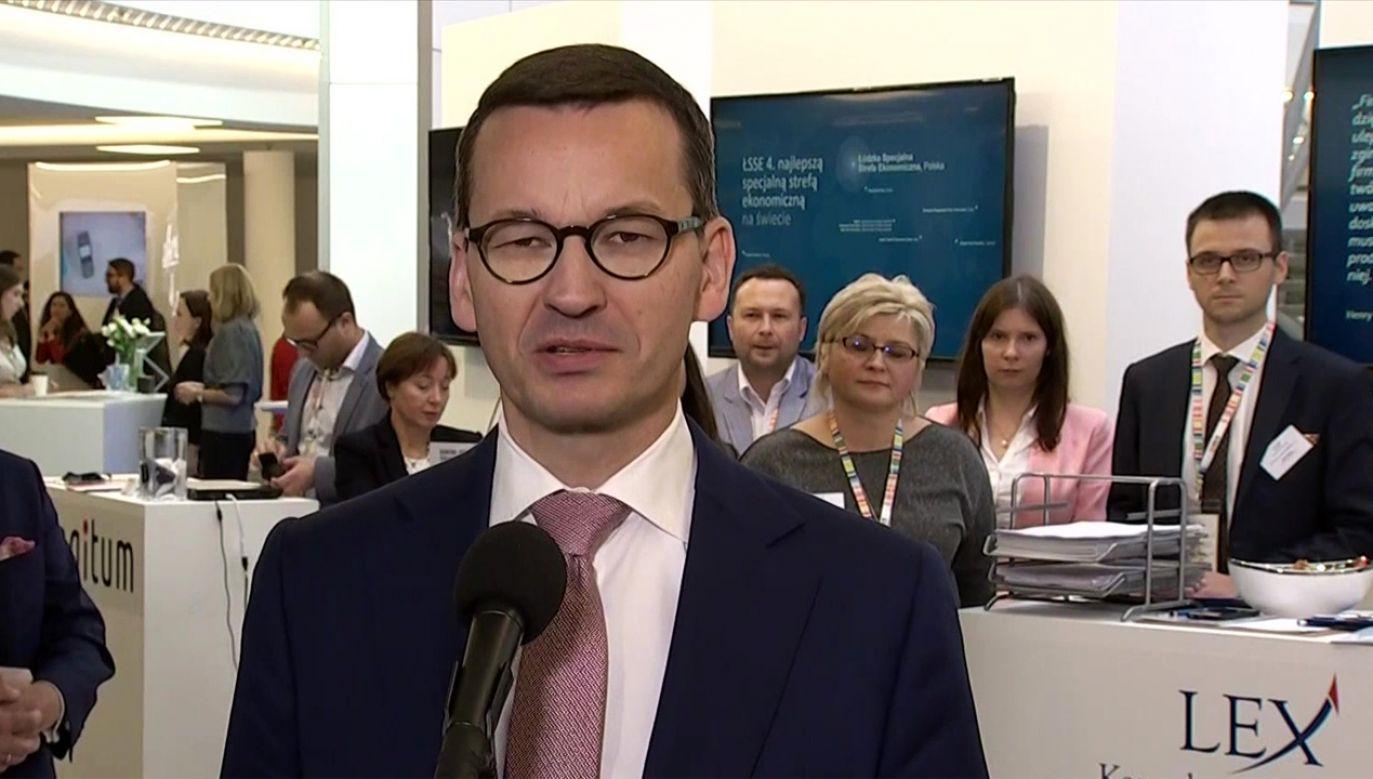 Briefing premiera Mateusza Morawieckiego w Jasionce (fot. TVP Info)