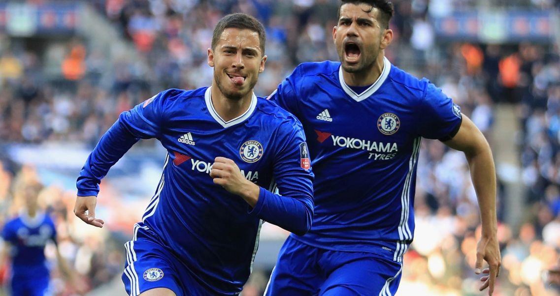 a35866774 Grad bramek w Londynie. Chelsea w finale FA Cup. Eden Hazard (L) i Diego  Costa (fot. Getty Images)