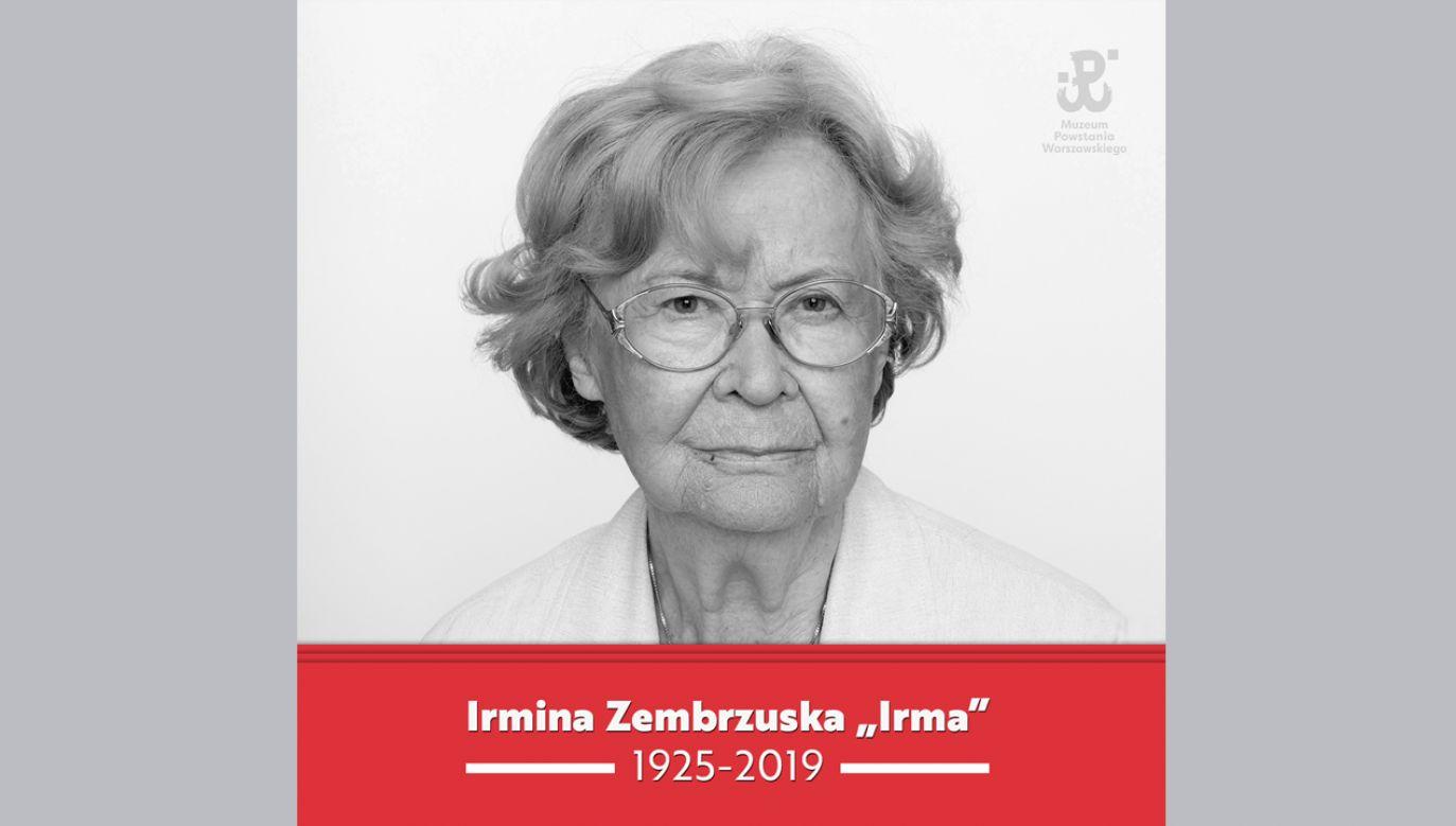Irmina Zembrzuska-Wysocka miała 93 lata (fot. FB/Muzeum Powstania Warszawskiego)