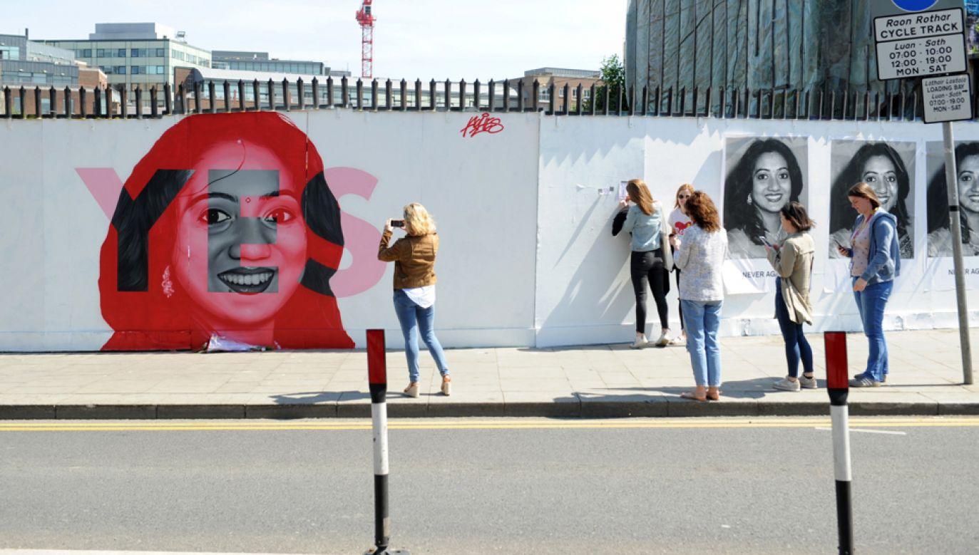 """Na muralu zmarła Indianka, Savita Halappanavar, która stała się twarzą kampanii """"Tak"""" w legalizacji aborcji w Irlandii (fot. PAP/EPA/AIDAN CRAWLEY)"""