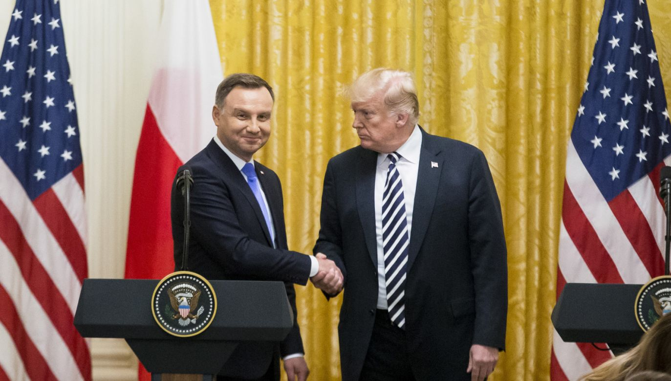 Prezydenci Andrzej Duda i Donald Trump (fot. PAP/EPA/MICHAEL REYNOLDS)