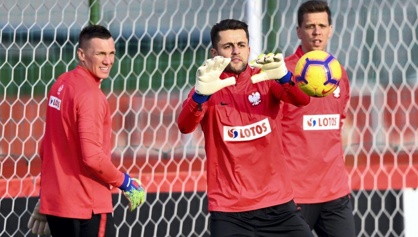 Wojciech Szczęsny, Łukasz Fabiański i Łukasz Skorupski na treningu przed meczem Austria – Polska (Fot. PAP)