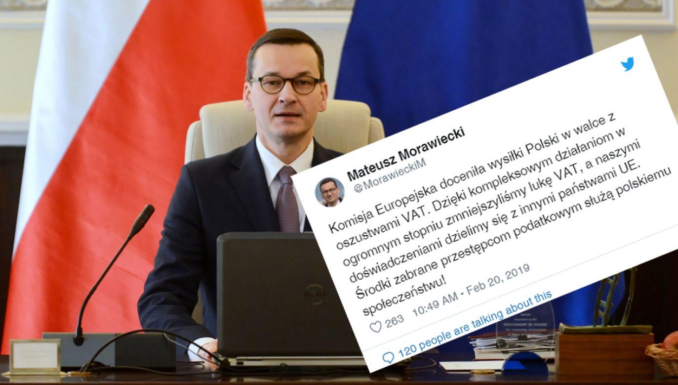 Premier Mateusz Morawiecki  podkreślił, że KE doceniła wysiłki Polski w walce z oszustwami VAT (fot. PAP/Jakub Kamiński)