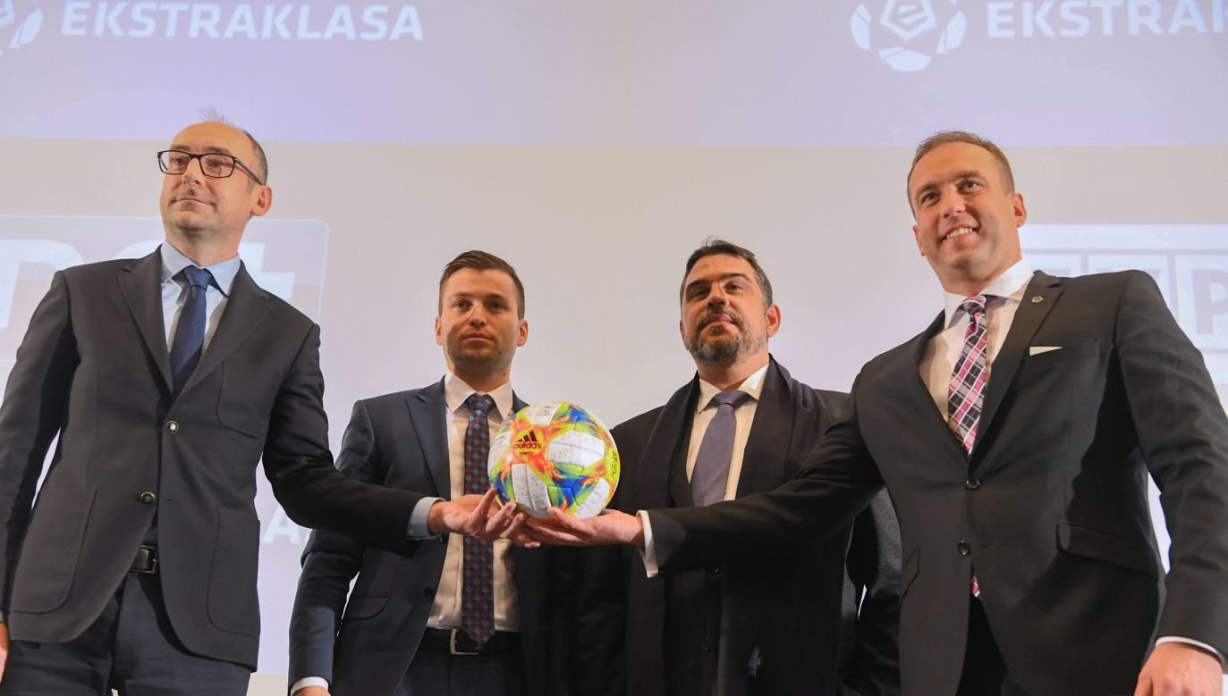 Signing of new TV deal for Polish top flight. Pictured from the left: the head of the supervisory board of Ekstraklasa S.A. Karol Klimczak, the  director of TVP Sport Marek Szkolnikowski,the chairman of nc+ Manuel Rougeron and the chairman of Ekstraklasa S.A. Marcin Animucki