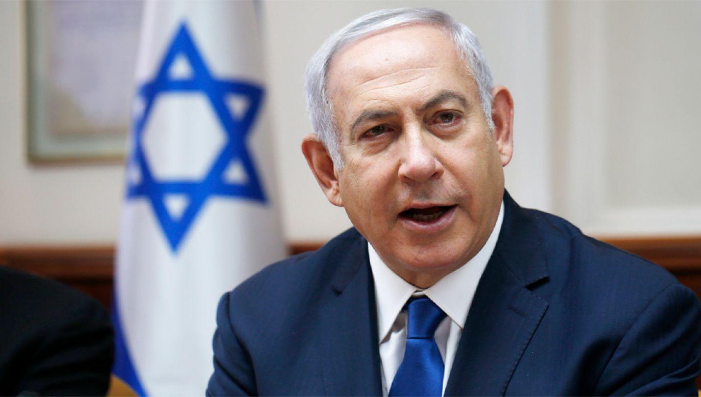 Premier Izraela Benjamin Netanjahu przedstawił irańskie dokumenty (fot. PAP/EPA/RONEN ZVULUN / POOL)