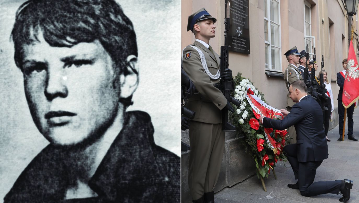 Left: Grzegorz Przemyk, a 19-year-old student brutally beaten to death by police in 1983. Right: President Duda lays a wreath on the 35th anniversary of the student's murder. Photo: Wikimedia Commons & PAP/Paweł Supernak
